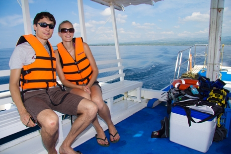 Client during an Island hopping tour in Dumaguete